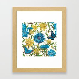 Seamless floral pattern with flowers and butterfly Framed Art Print