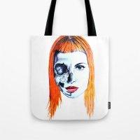 hayley williams Tote Bags featuring Half Skull Half Hayley by anetambiel