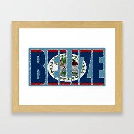 Belize Map with Belizean Flag Framed Art Print