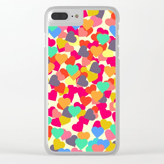 Rain of hearts Clear iPhone Case