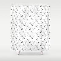 crane Shower Curtains featuring Crane by Jiaxi Huang