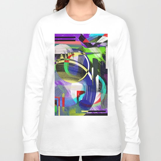 Try To Make Sense Of It All - Random, geometric, eclectic, abstract, colourful art Long Sleeve T-shirt