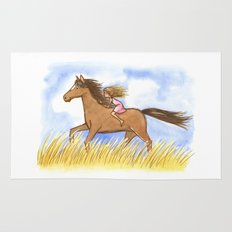 Free As The Wind Horse and Girl - Artwork that re-visits your favorite childhood memories Rug