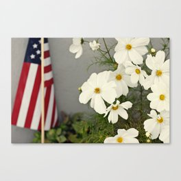 White Flowers, American Flag Canvas Print