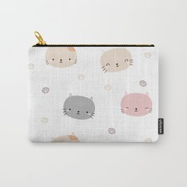 Cute cat head with pastel pattern Carry-All Pouch