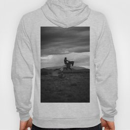 Black and White Cowboy Being Bucked Off Hoody