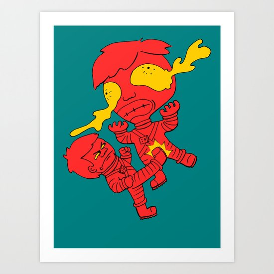 Astronaut getting kicked because the world needs this -- funny cartoon drawing in red and yellow Art Print