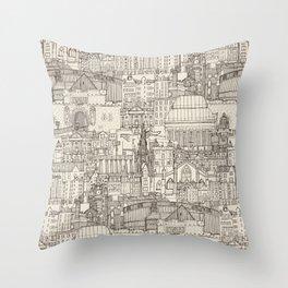 Edinburgh toile natural Throw Pillow