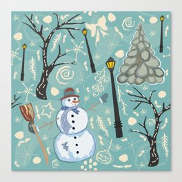 Cute Winter Background with Snowman Character, Street Lantern and Spruce Tree Canvas Print