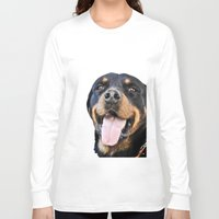 rottweiler Long Sleeve T-shirts featuring Happy rottweiler by StarsColdNight