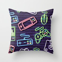Neon Video Game Accessories Pattern Throw Pillow