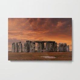 Stonehenge Sunset Metal Print