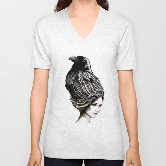 Raven Haired Unisex V-Neck