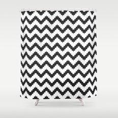 Funky chevron - black Shower Curtain