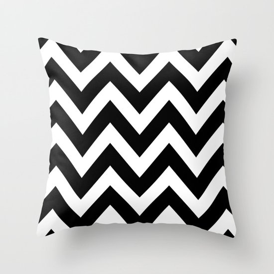 BLACK AND WHITE CHEVRON Throw Pillow by Natalie Sales Society6