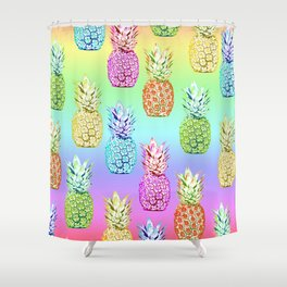 Pineapple Rainbow Shower Curtain
