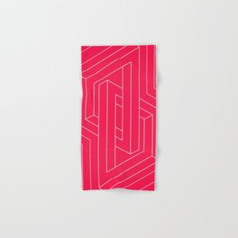 Modern minimal Line Art / Geometric Optical Illusion - Red Version  Hand & Bath Towel
