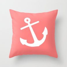 Coral Anchor Throw Pillow