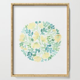 Yellow and Blue Floral Circle Serving Tray