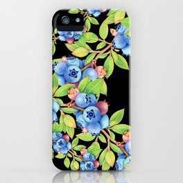 Wild Blueberries Lattice Design iPhone Case