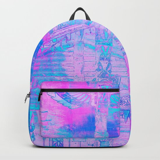 Totem Cabin Abstract - Hot Pink & Turquoise Backpack