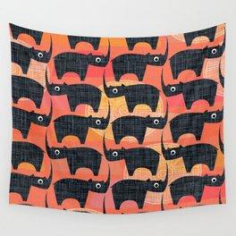 Black Rhino Sunset Wall Tapestry