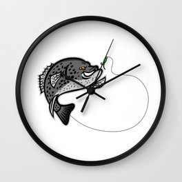Crappie Jumping For A Bait Mascot Wall Clock