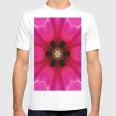 Pink Flower Abstract Mens Fitted Tee MEDIUM White
