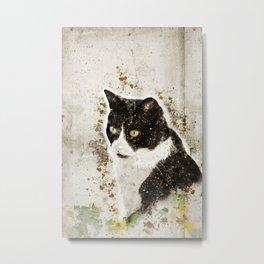 Cat portrait illustration, cat lover painting Metal Print