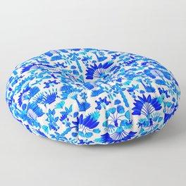 Exotic Garden - Blue Floor Pillow