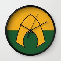 dc comics Wall Clocks featuring Aquaman Logo Minimalist Art Print DC Comics by The Retro Inc
