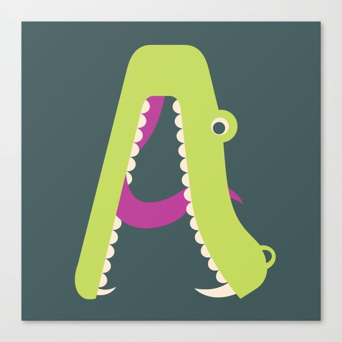 Letter A // Animal Alphabet // Alligator Monogram Canvas Print