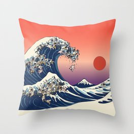 The Great Wave Of  French Bulldog Throw Pillow