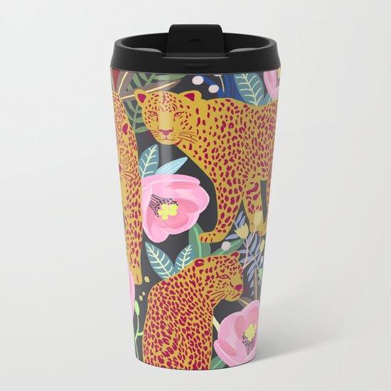The leopard at night, leopard print, animal print Metal Travel Mug