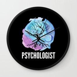 Psychologist with Brain Tree Wall Clock
