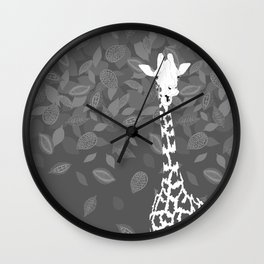 Funny Giraffe with Leaves Wall Clock