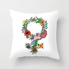 Feminist flower in color Throw Pillow