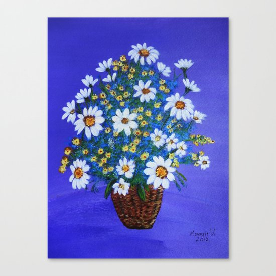 Flowers in the basket Canvas Print