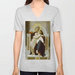 William-Adolphe Bouguereau - La Vierge, L'Enfant Jésus et Saint Jean-Baptiste Unisex V-Neck