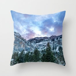 Snowcap Mountain | Sunset at Mount Charleston Mary Jane Falls Road National Forest Road Trip Sky Throw Pillow