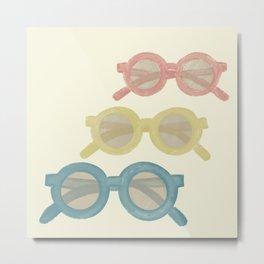 Sunglasses of Seventies Summer Pattern Metal Print