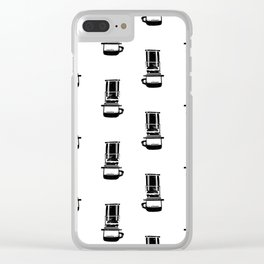 Aeropress black and white linocut coffee lover cafe kitchen minimal art Clear iPhone Case