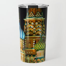 St. Basil's Cathedral on red square in Moscow Travel Mug