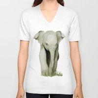 baby elephant V-neck T-shirts featuring Baby Elephant by Tanya Petruk