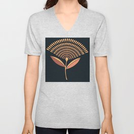 Mid Century Modern Dandelion Seed Head In Coral and Pink Unisex V-Neck
