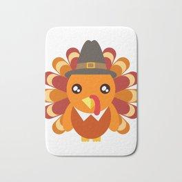 Cute Turkey Wearing A Hat Happy Turkey Day Thanksgiving Save A Turkey Awareness T-shirt Design Bath Mat