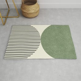 Semicircle Stripes - Green Rug