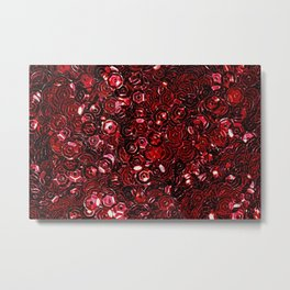 Red Scattered Sequins Metal Print