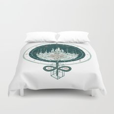 White Dahlia Duvet Cover