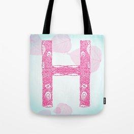 Floral Letter 'H' Tote Bag